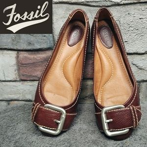 Fossil Large Buckle Brown Leather Ballet Flats